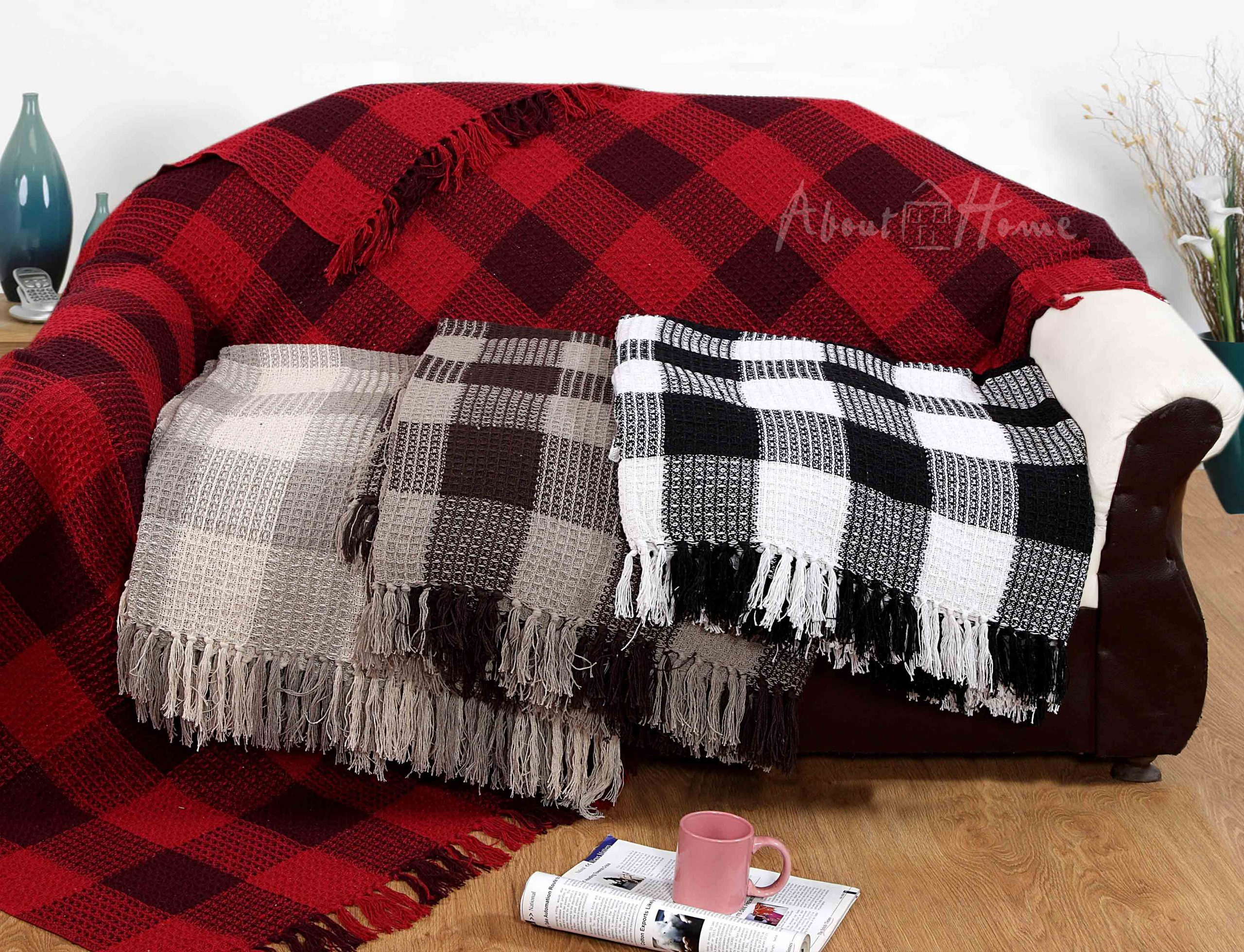 Honeycomb Check Cotton Throws Waffle design