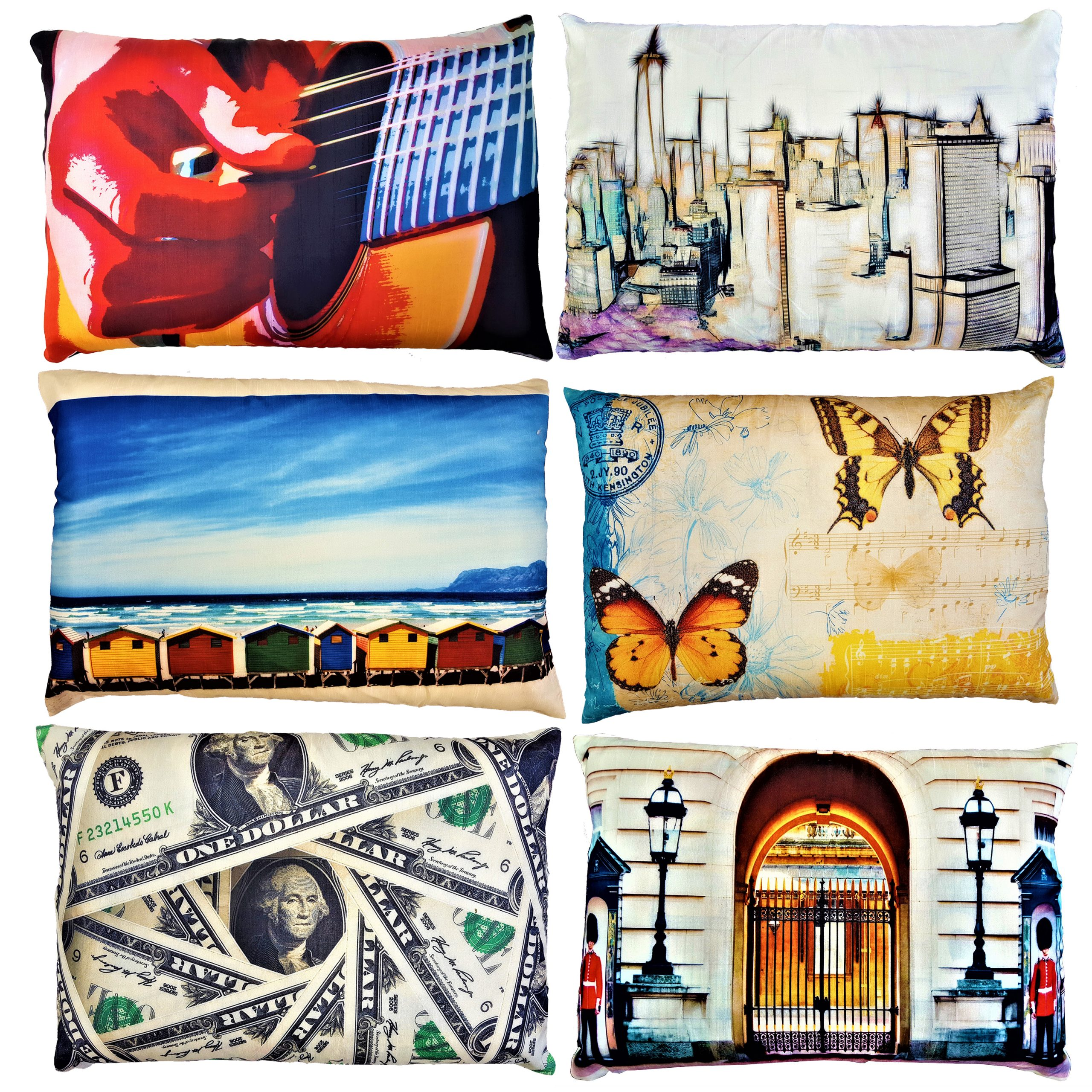 About Home Faux Silk printed Pillowcases with Padded foam