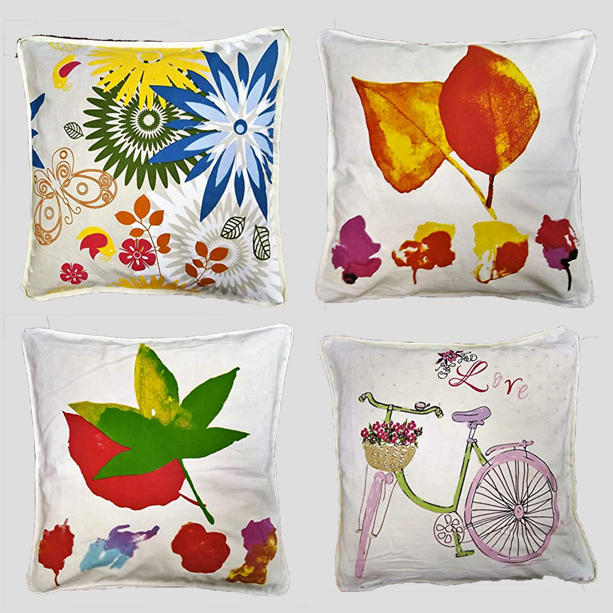 About Home Filled Printed Cotton Cushions Tape Edged, 22×22 inches,24×24 inches