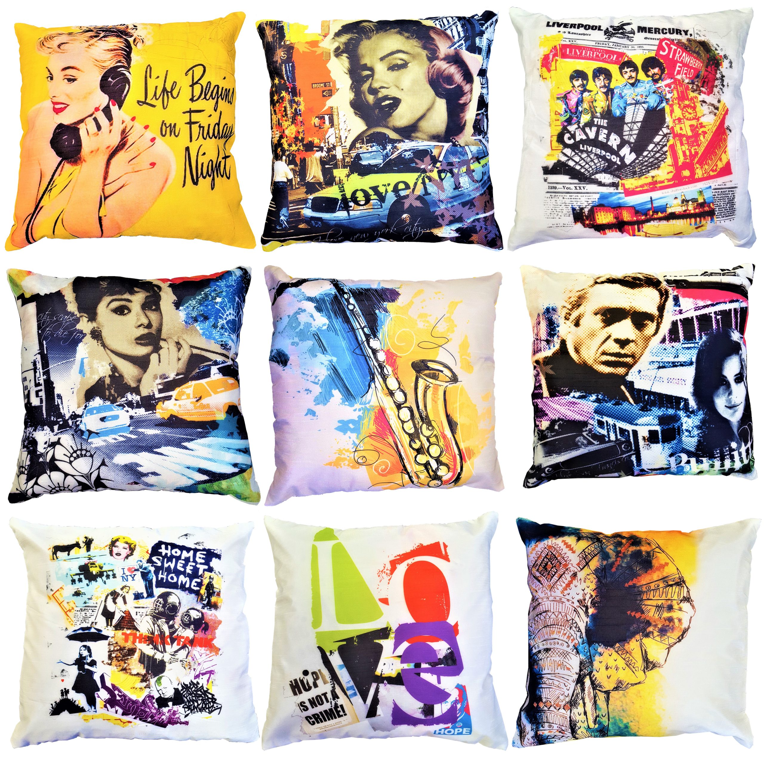 About Home Printed Faux Silk Cushions / cushion covers with padded foam