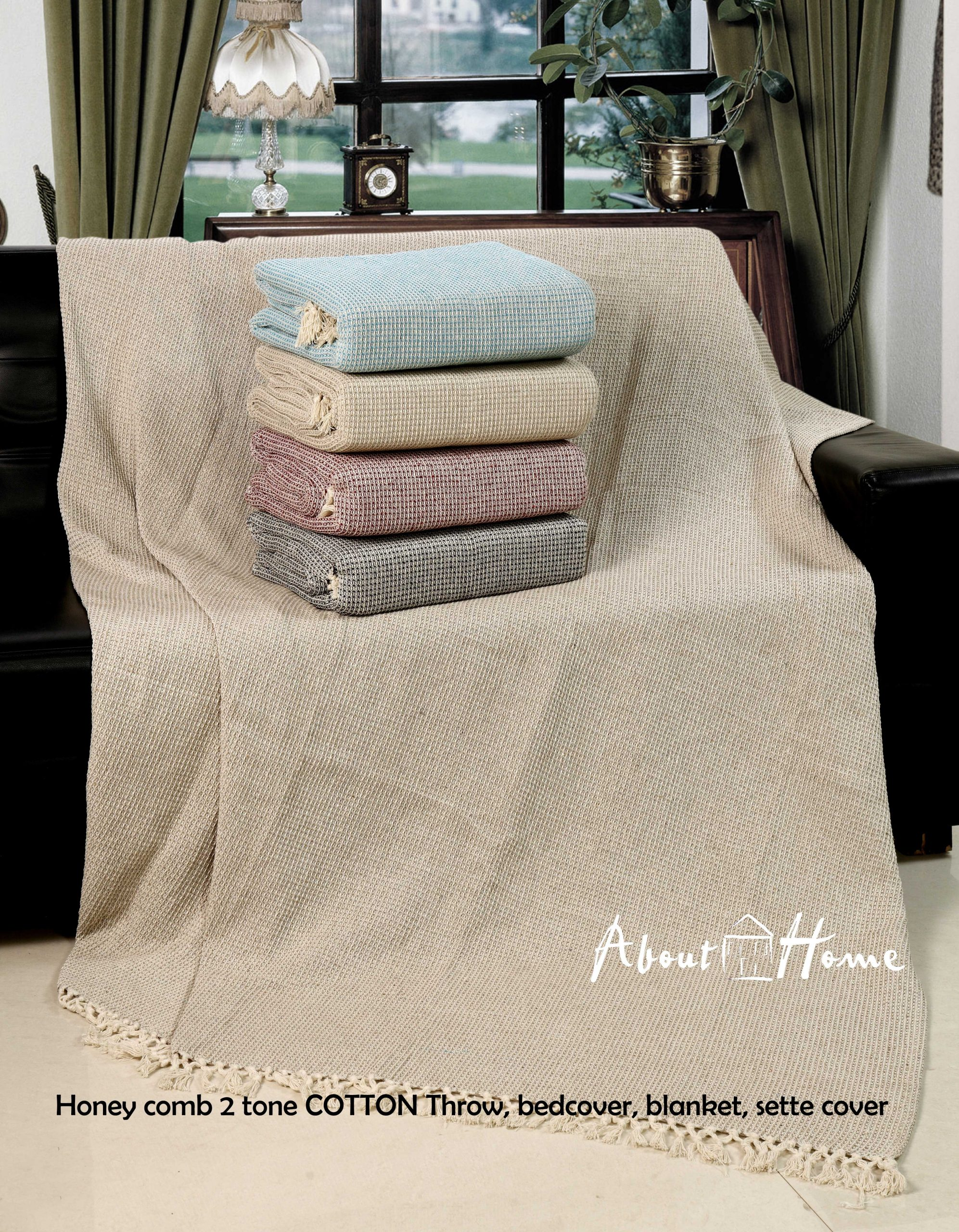 About Home Honeycomb Two Tone Cotton Throws