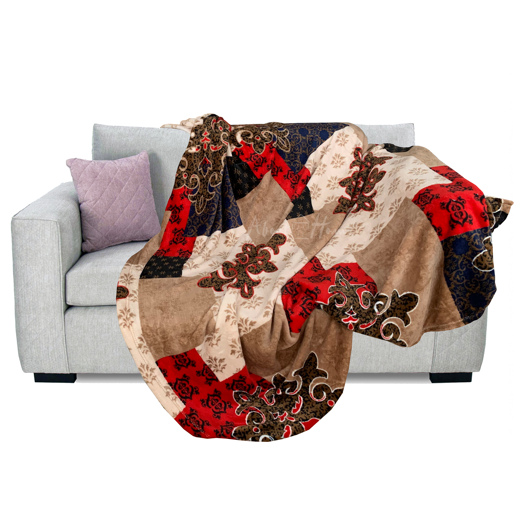 About Home printed flannel blanket throws brown
