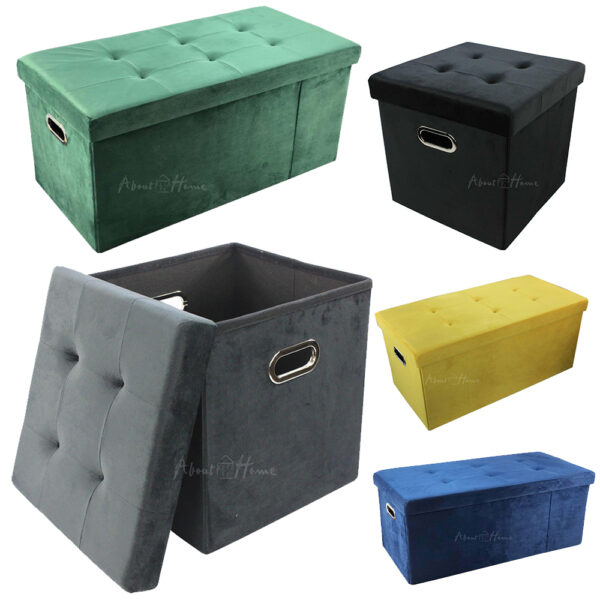 About Home Brushed Velvet Storage Ottoman